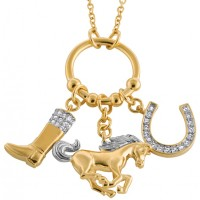 JNK40 - Gold and Crystal Equestrian Charm Necklace